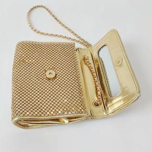 Vintage Whiting & Davis Gold Mesh Crossbody Mirror
